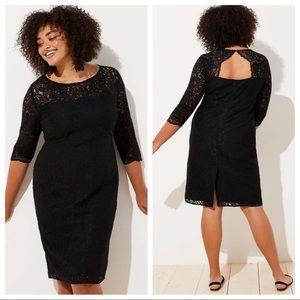 LOFT black lace cutout back dress